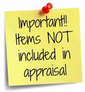 Important - Items Not Included in Appraisal